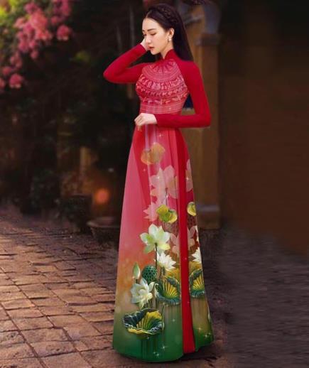 Áo dài họa tiết hoa sen trắng