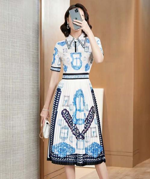 Đầm cổ sơ mi xếp ly phối họa tiết
