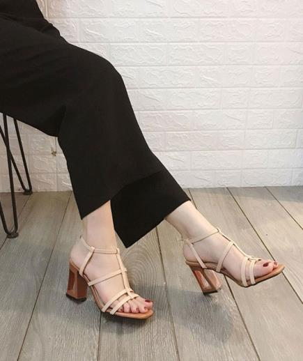 Sandal dây gót cách điệu 7cm