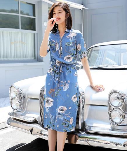 Đầm denim cotton hoạ tiết hoa