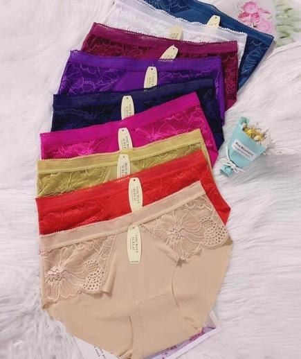 Combo 10 quần lót nữ su trơn phối ren hoa