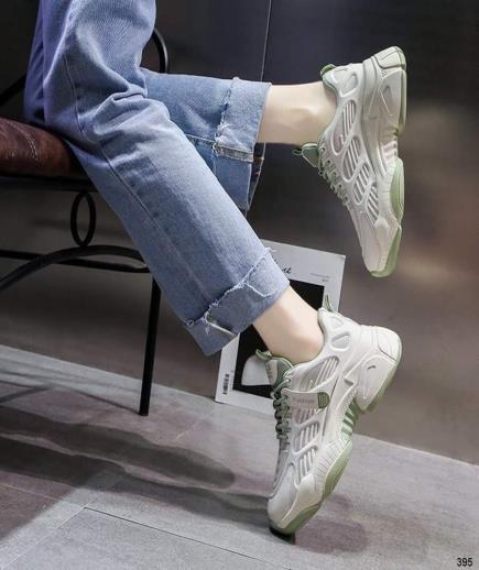 Giày thể thao đế độn màu trắng viền xanh
