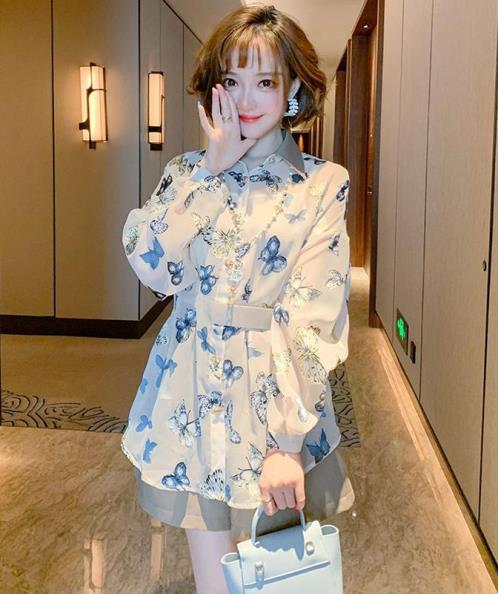 Set bộ áo sơ mi họa tiết bướm xanh