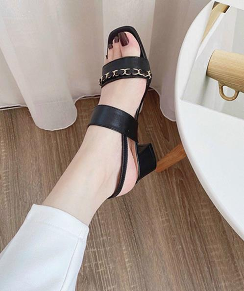 Giày sandal quai ngang phối xích 5cm