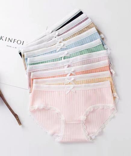 Combo 10 quần lót tăm gân phối viền ren