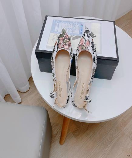 Giày búp bê mũi nhọn thêu hoa 1cm
