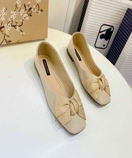 Giày búp bê gắn nơ lụa 1cm