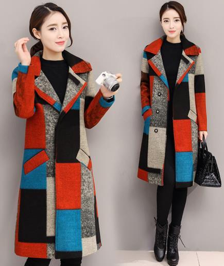 Áo khoác dạ cổ vest phối màu