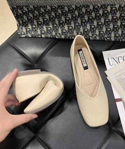 Giày bệt mũi vuông 1cm da gân