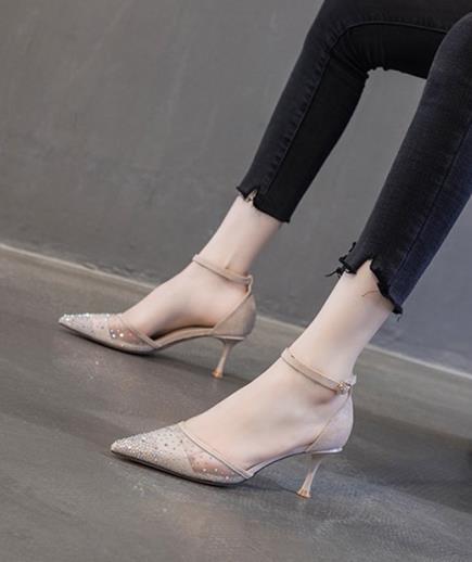 Giày cao gót đính hạt phối lưới 7cm