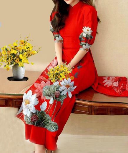 Áo dài cách tân tay ngắn họa tiết hoa sen