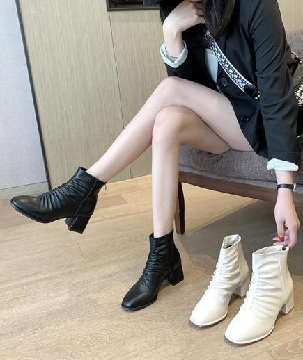 Giày boots bản nhún khóa kéo sau 5cm