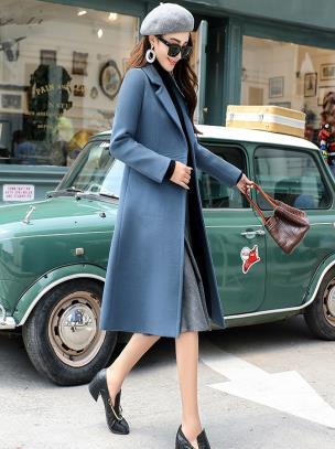 Áo khoác dạ dáng dài túi đứng hai nút ngang