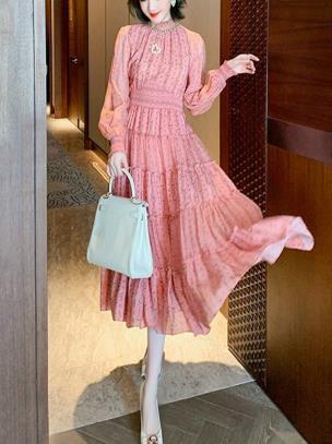 Đầm maxi voan hoa nhí dài tay phong cách cổ điển