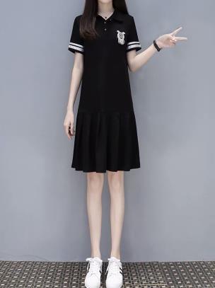 Đầm suông thun hạ eo phối viền trắng cổ bẻ