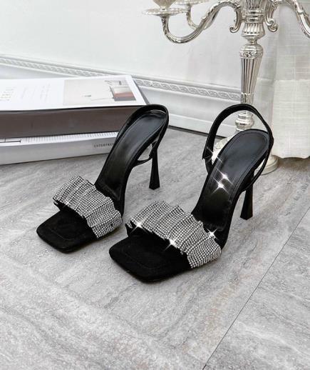 Giày cao gót quai nhún đính đá cao cấp 10cm
