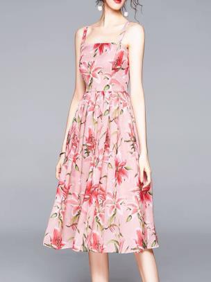 Đầm hai dây họa tiết hoa ly