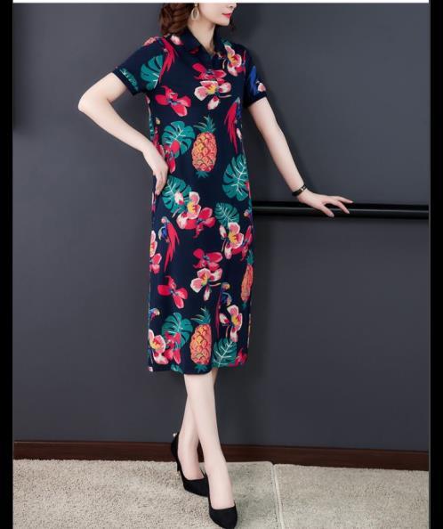 Đầm suông thun cổ bẻ họa tiết thiên nhiên