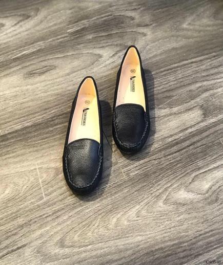 Giày da nữ mũi tròn may viền 1cm