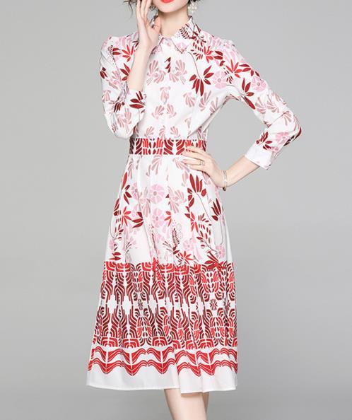 Đầm lụa cổ sơ mi phối họa tiết