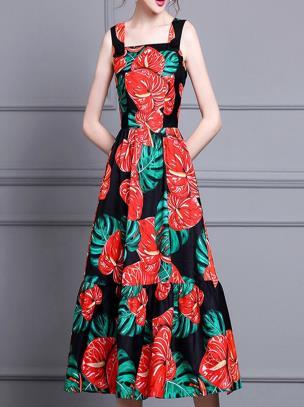 Đầm xòe hai dây họa tiết hoa hồng môn