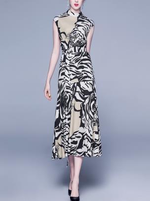 Đầm lụa họa tiết kèm belt cao cấp