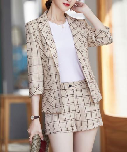 Set bộ vest short 3 món ca rô cao cấp