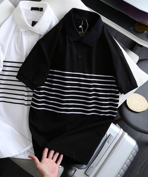 Áo thun nam phối sọc giữa thân áo