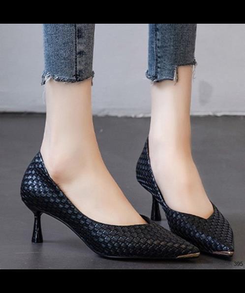 Giày cao gót mũi nhọn vân đan nổi 5cm