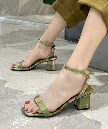 Giày sandal quai ngang sọc caro 5cm