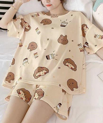 Bộ thun mặc nhà phom suông rộng họa tiết baby gấu