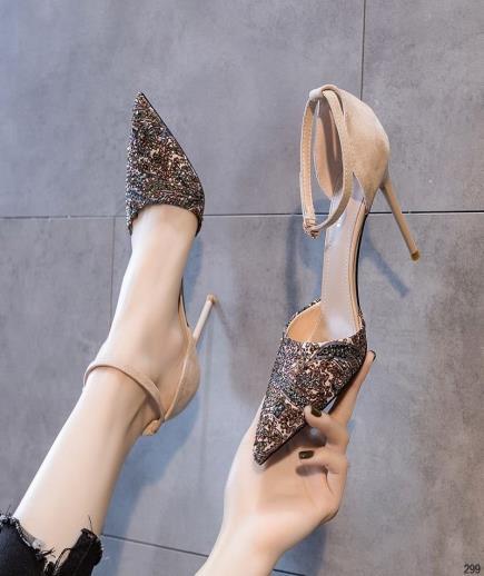 Giày cao gót mũi nhọn phối họa tiết 9cm