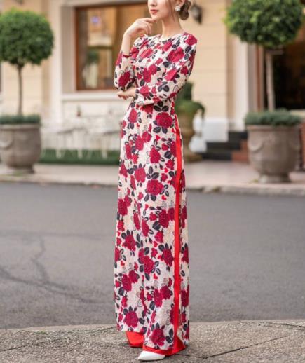 Áo dài cổ tròn họa tiết hoa hồng
