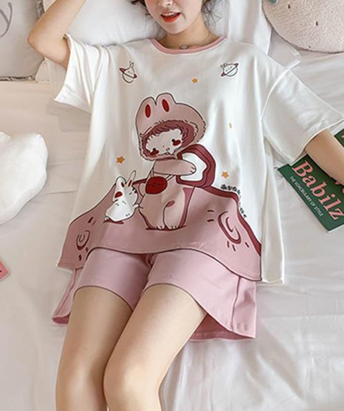 Bộ thun mặc nhà phom suông rộng họa tiết thỏ