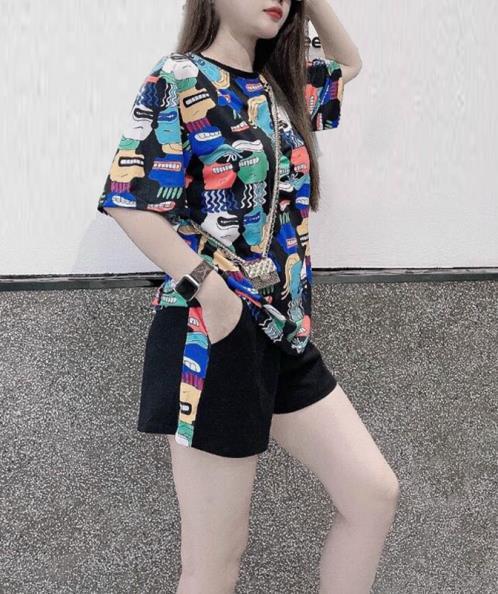 Set bộ short thời trang áo suông họa tiết đa sắc
