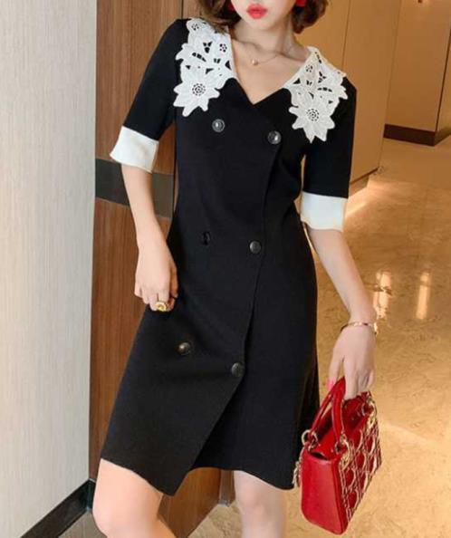 Đầm suông dệt kim cổ ren bản lớn