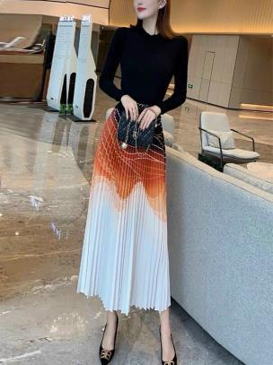 Đầm len phối lụa gập ly phối màu cao cấp